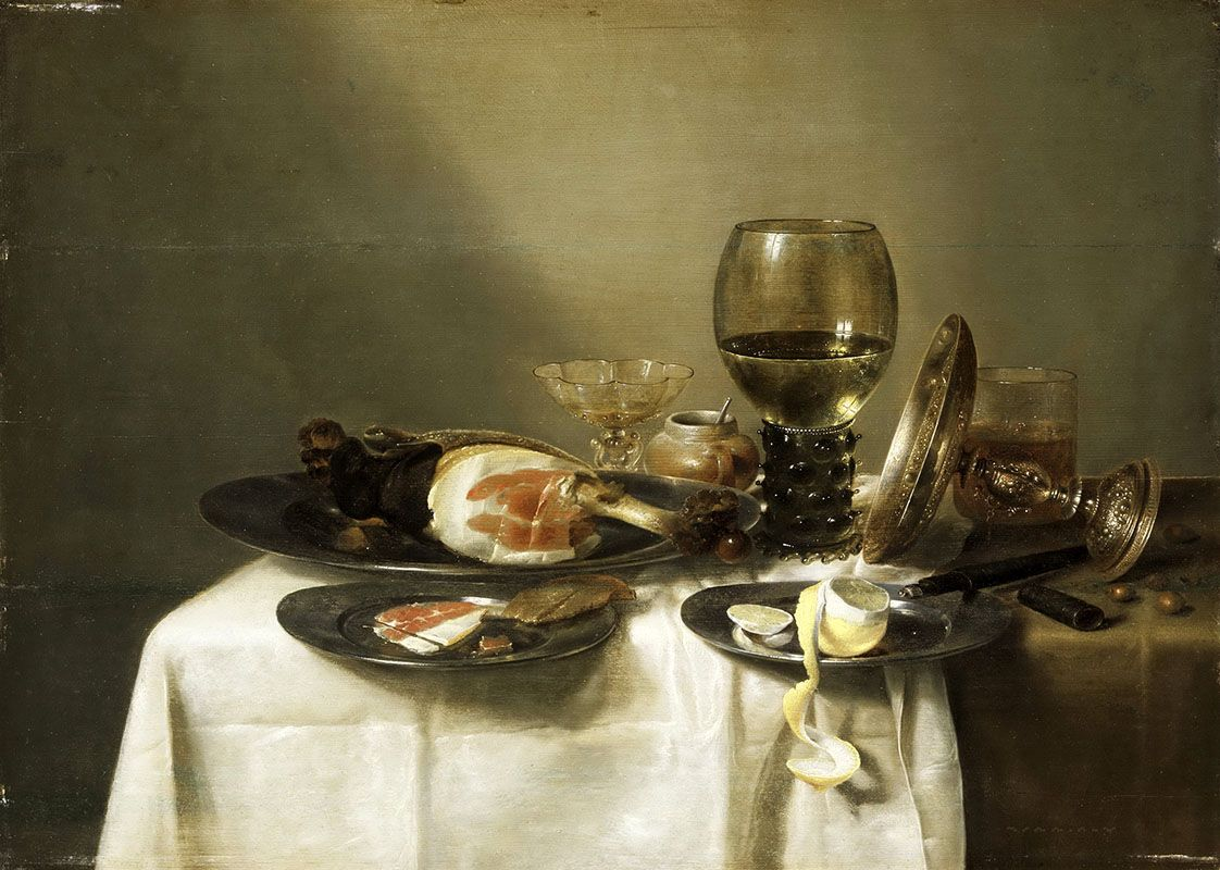 / / . Still Life with a Ham and a Roemer . Willem Claesz. Heda . 1631-34