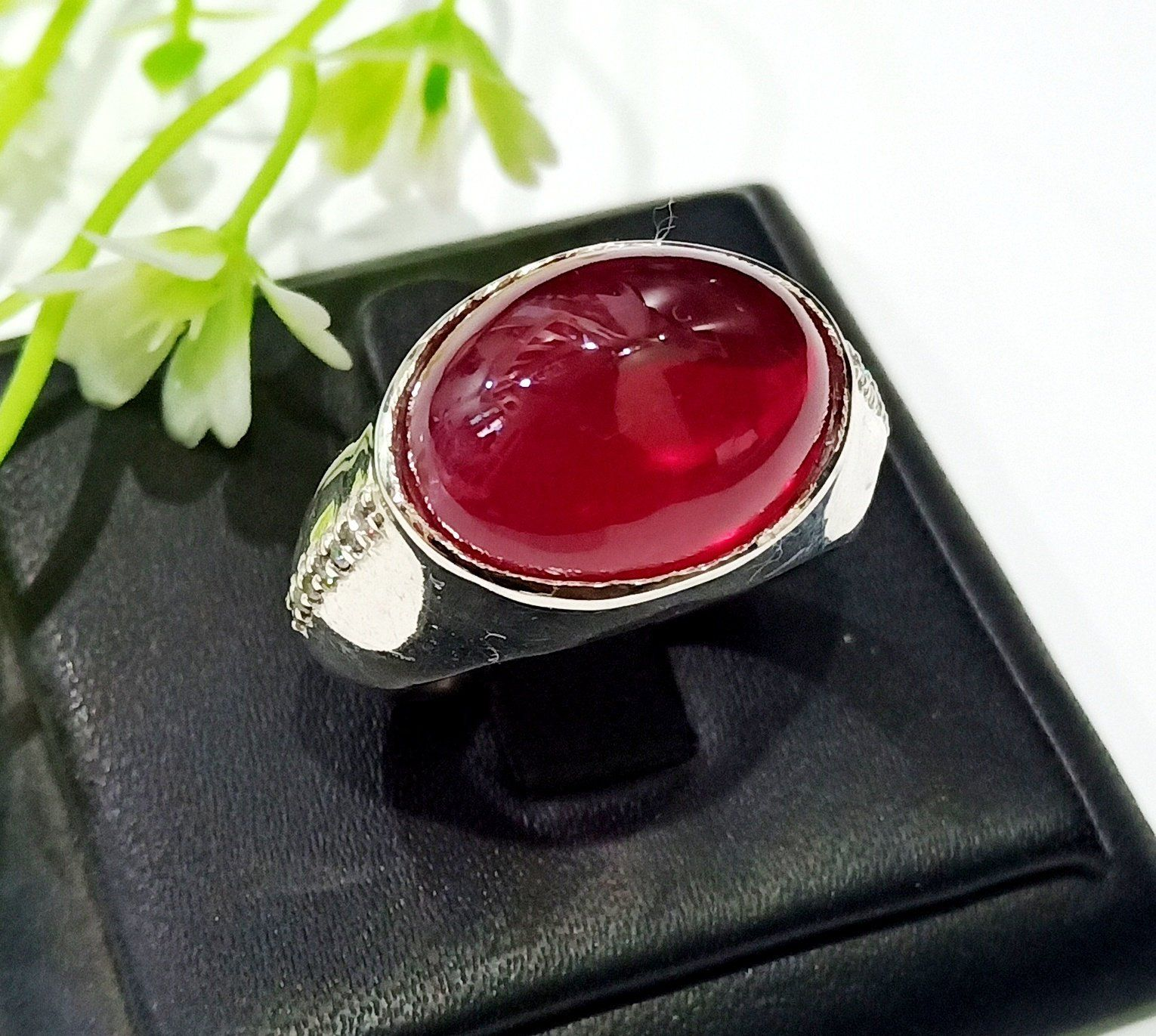 Natural Rose Quartz Cab Gemstone 925 sterling silver Jewelry Ring Choose Size