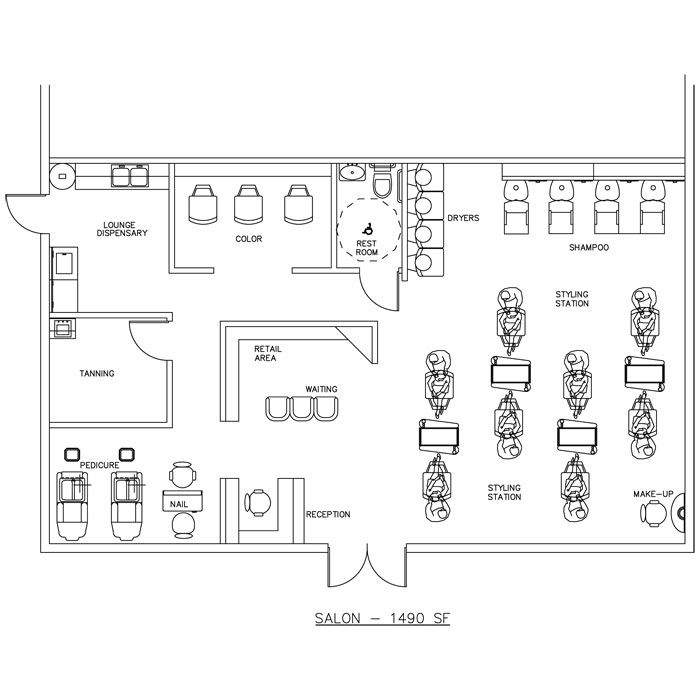 Beauty Salon Floor Plan Design Layout 1490 Square Foot Hair Salon Design Salon Design Nail Salon Design