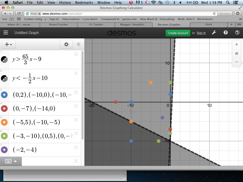 Systems of linear inequalities game on desmos