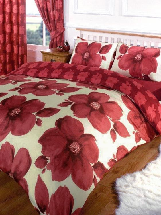 Beautiful SIZE POPPY PRINT DUVET COVER SET U0026 CURTAINS BIG RED