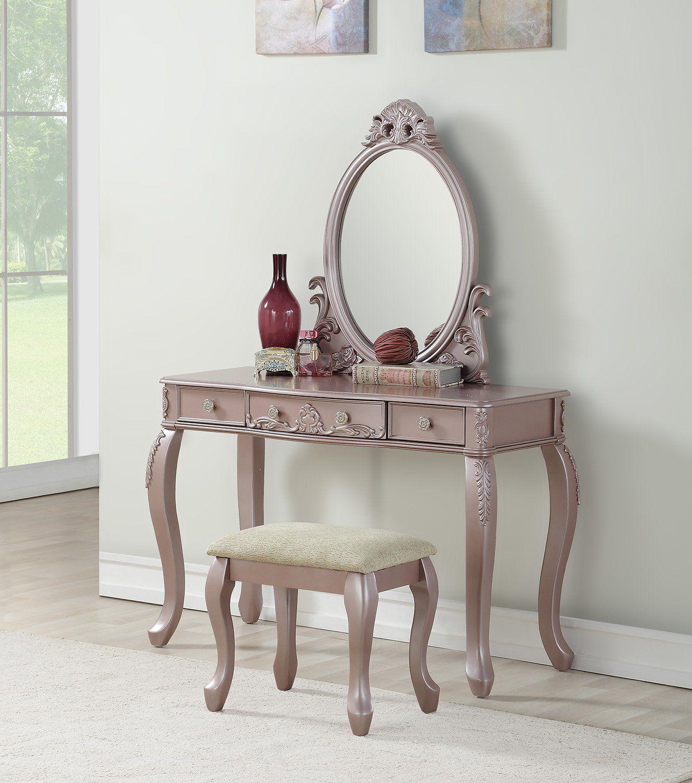 F4169 Vanity Set w/ Stool Rose Gold Vanity set with