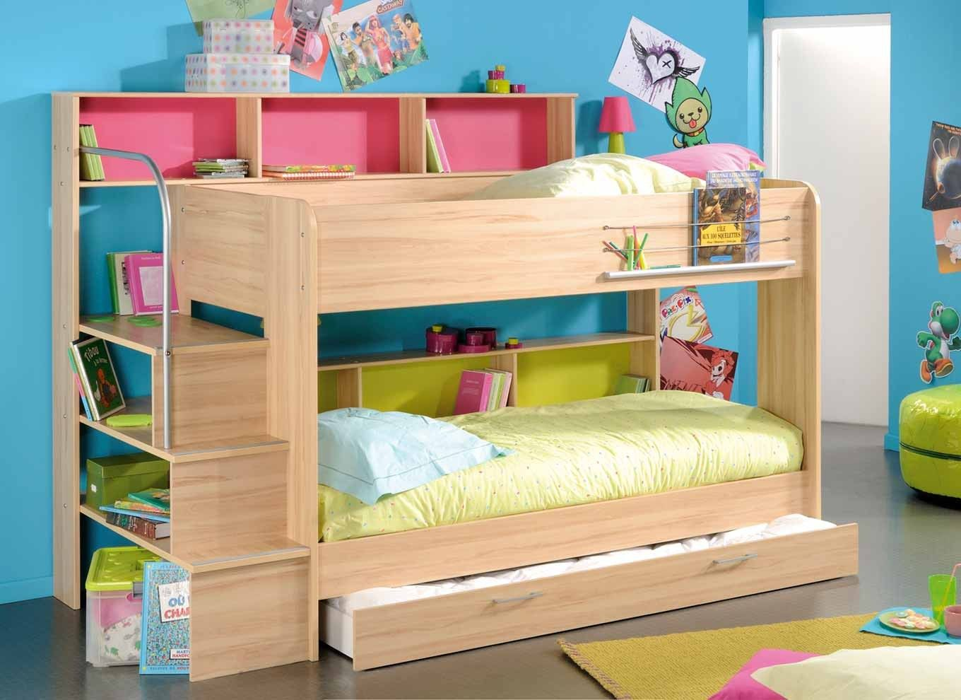 Double deck bedroom for kids girls - Double Bunk Beds With Slide Lydia Bunk Bed
