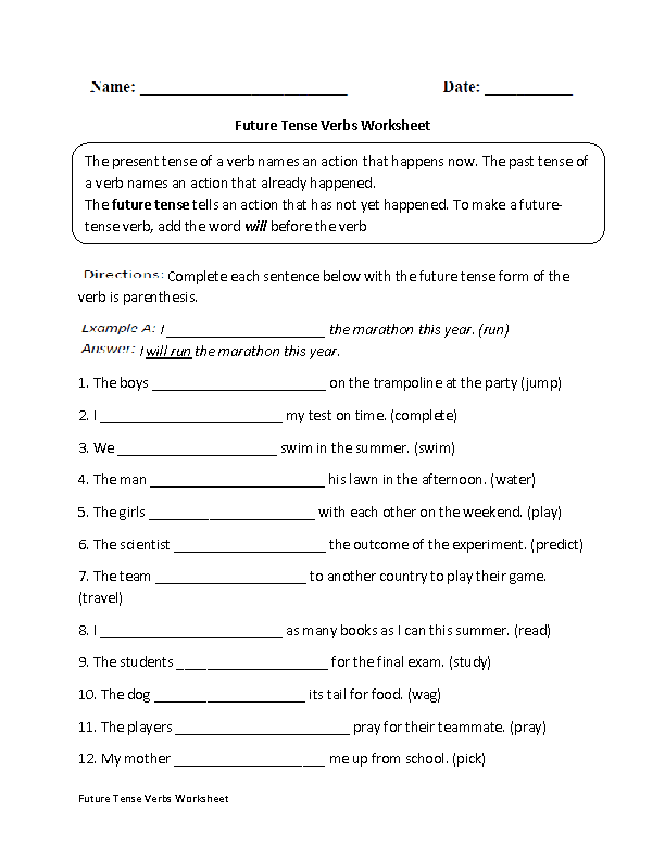 Future Tense Verbs Worksheet | Laerskool Engels | Verb tenses, Verb ...