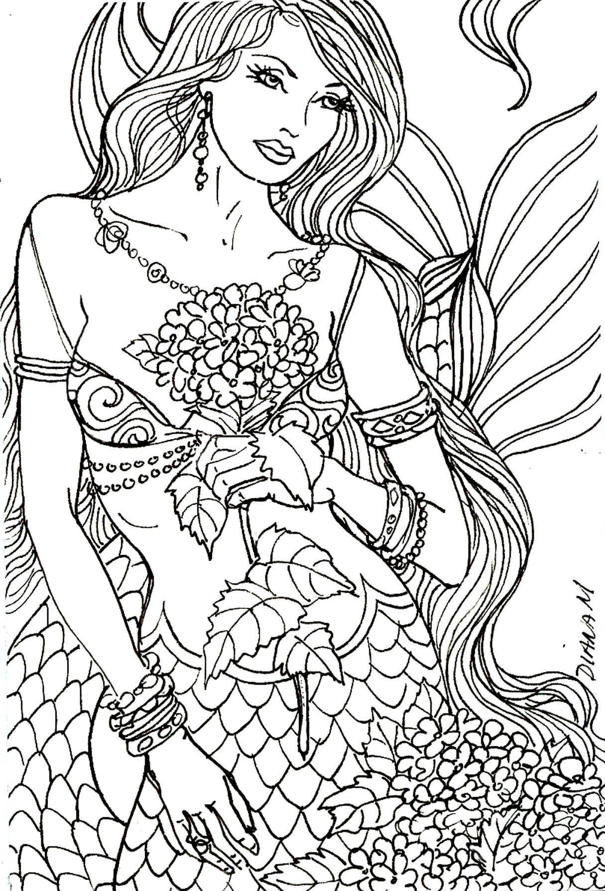 Sirena adulta colorear para colorear p gina gratuita - Colorazione sirena pagina sirena ...