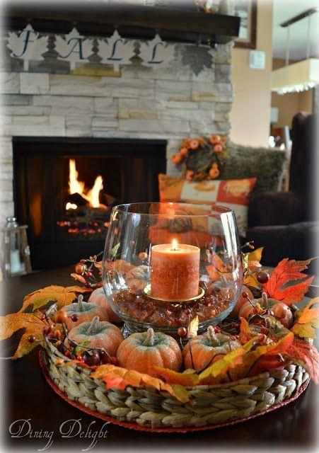 Fall Coffee Table Centerpiece - #Centerpiece #Coffee #coffeetable #fall #Table #herfstdecoraties
