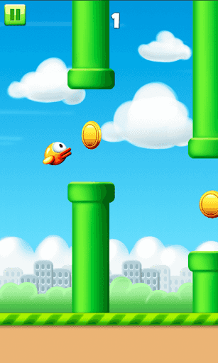 Click screen to flap the birdy in most cool addicting game ...