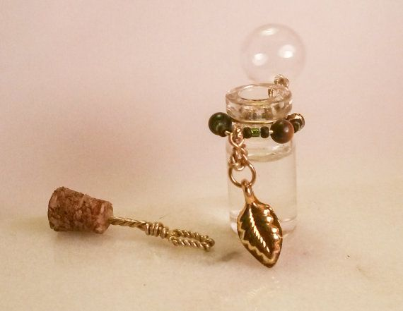Bubble Bottle-Glass Vial Charm Necklace by SomethingStained