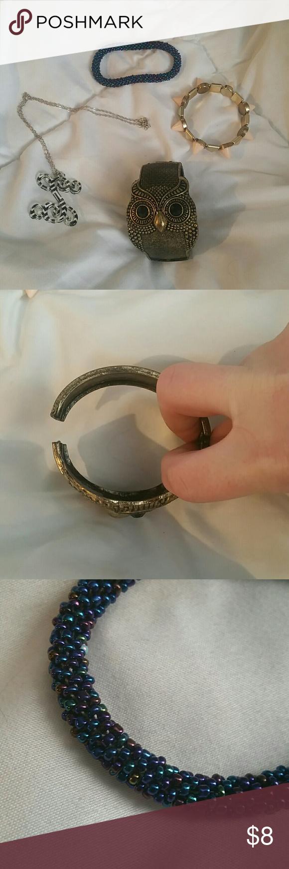 Nwot boutique jewelry *spikey stretch bracelet  *chevron print s necklace. Thin chain. *clasp largr owl bracelet  *beaded bracelet, very pretty colors Jewelry