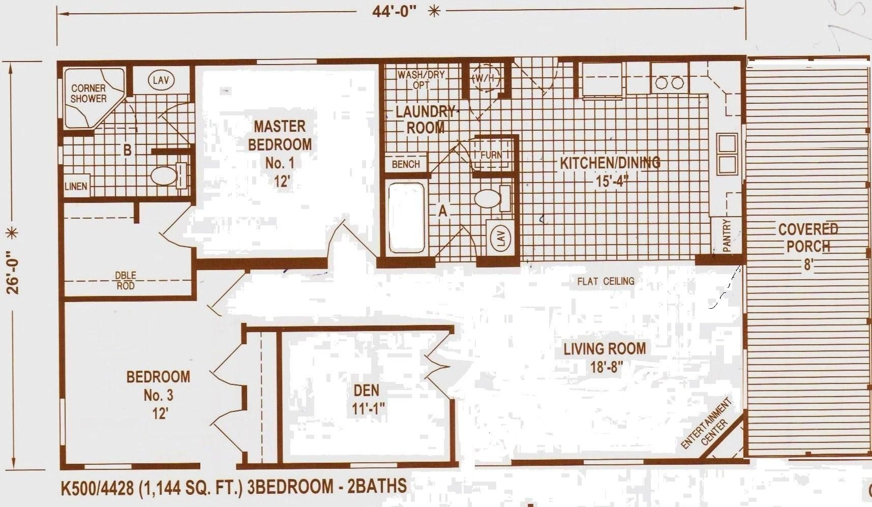 Double Wide Mobile Home Floor Plans DOUBLE WIDE 28 X 52