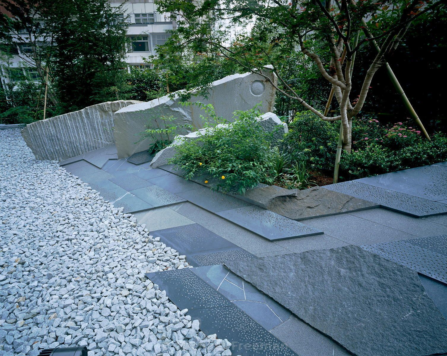 Garden Paving U2013 Contemporary Japanese Style Garden With Blue Slate Paving  And Gravel