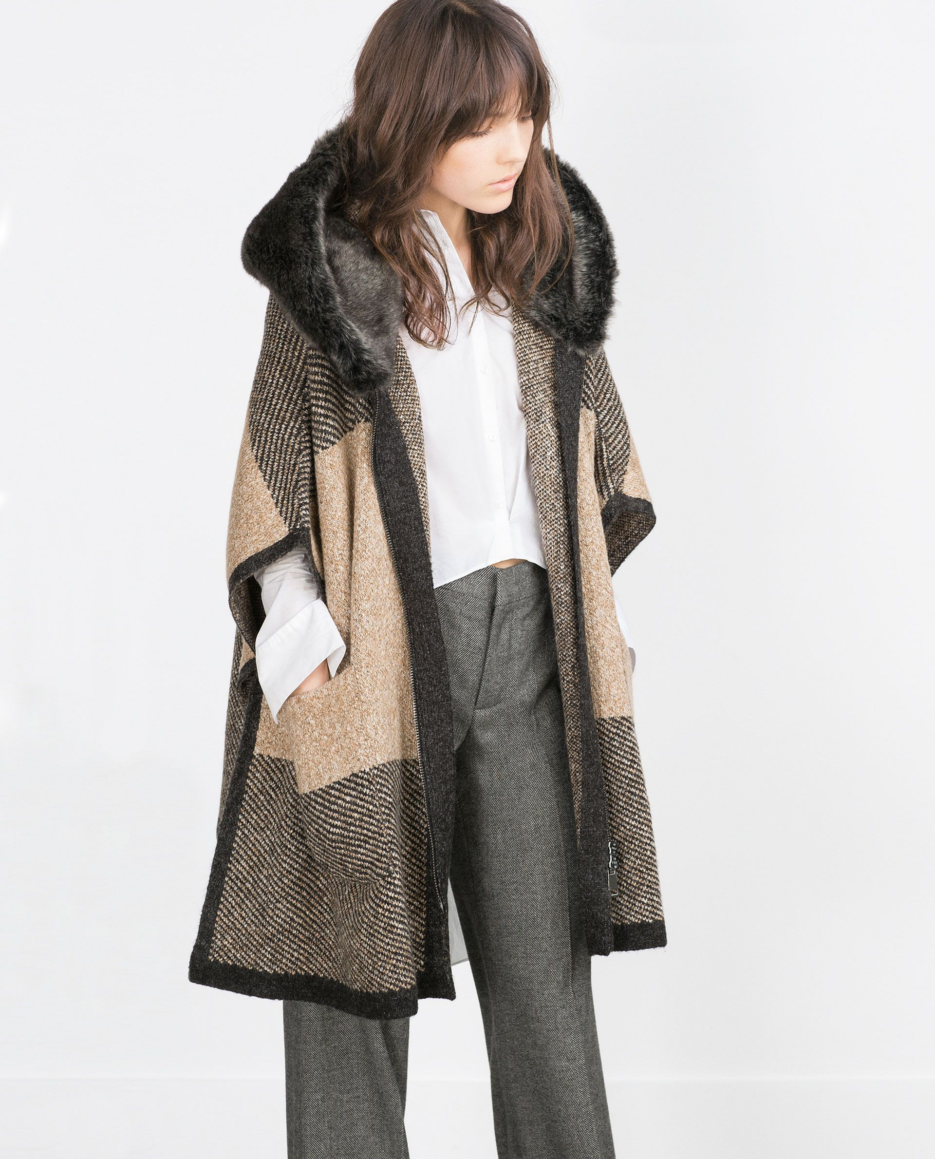 poncho with faux fur hood view all outerwear woman zara ukraine zara pinterest. Black Bedroom Furniture Sets. Home Design Ideas