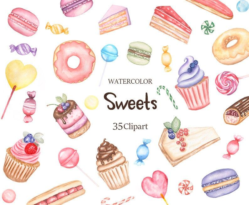 Handpainted clipart cupcake clipart food clipart watercolor clipart Digital donut clipart Printable Dessert clipart Cake Clipart