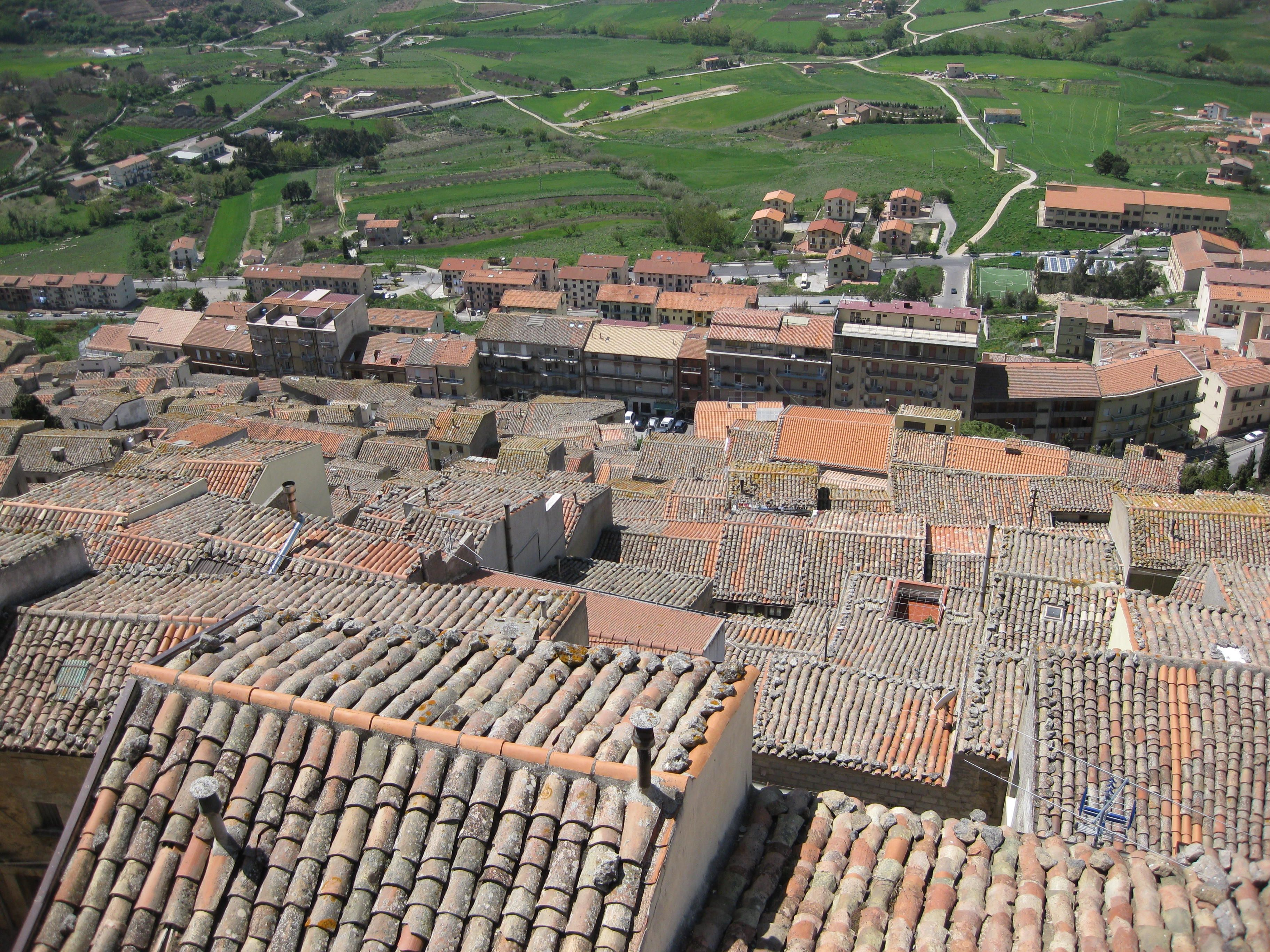 View down on mountain town of Gangi from near the top
