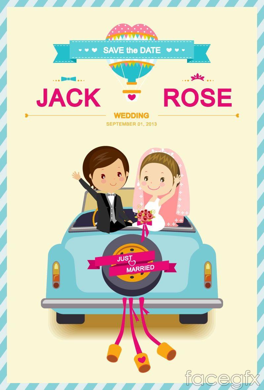 Cartoon Car Background Vector Cartoon Wedding Invitations Wedding Invitation Card Template Wedding Invitation Cards