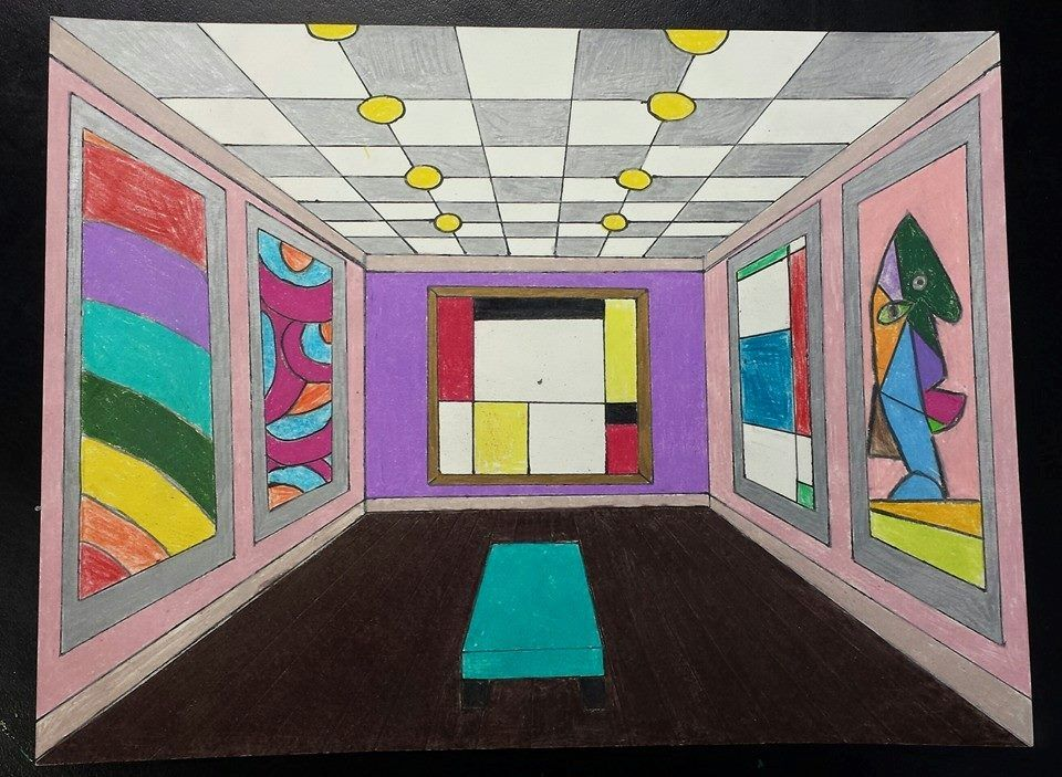 One point perspective museum interior art teacher michele - Arts plastiques chambre en perspective ...