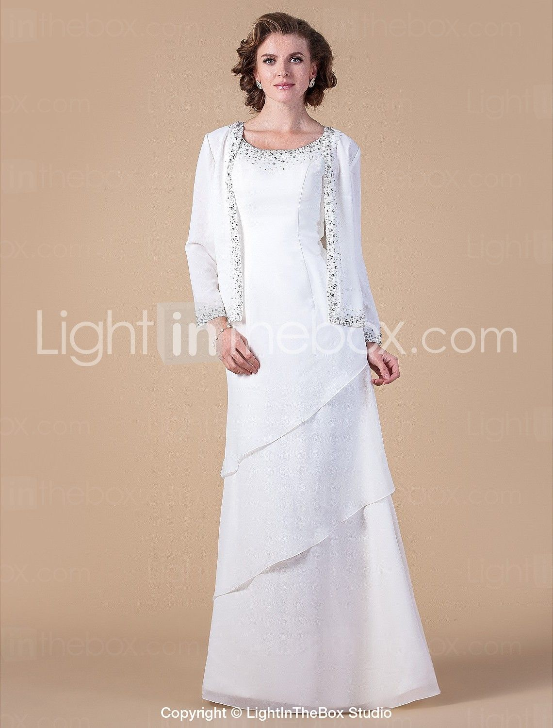 Make me a wedding dress  Sheath  Column Scoop Neck Floor Length Chiffon Mother of the Bride