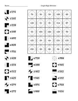 Single Digit Division Color Worksheet 2 Worksheets