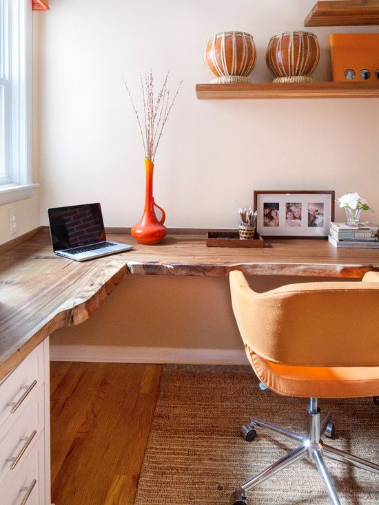 Amazing Home Office Design With Lovely Wooden Desk And Modern