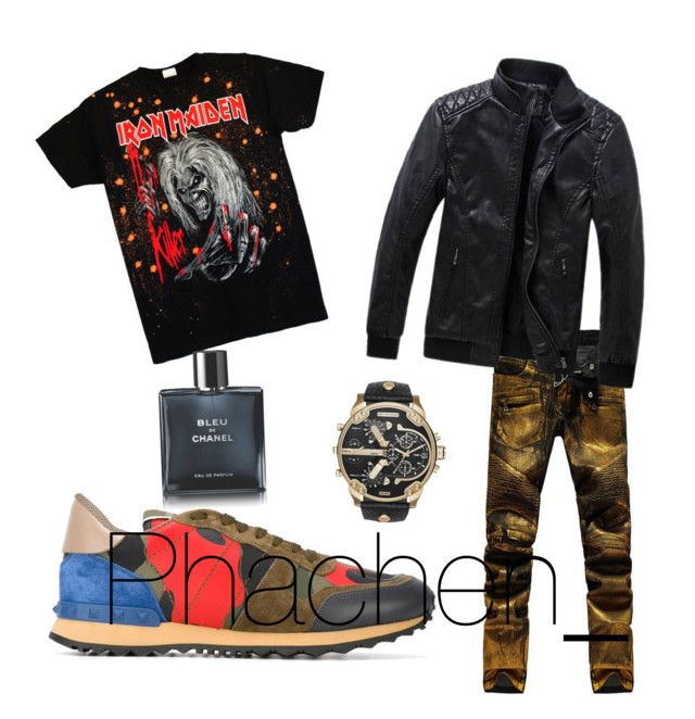 """""""Untitled #7"""" by prettysage on Polyvore featuring Valentino, Chanel, Diesel, men's fashion and menswear"""