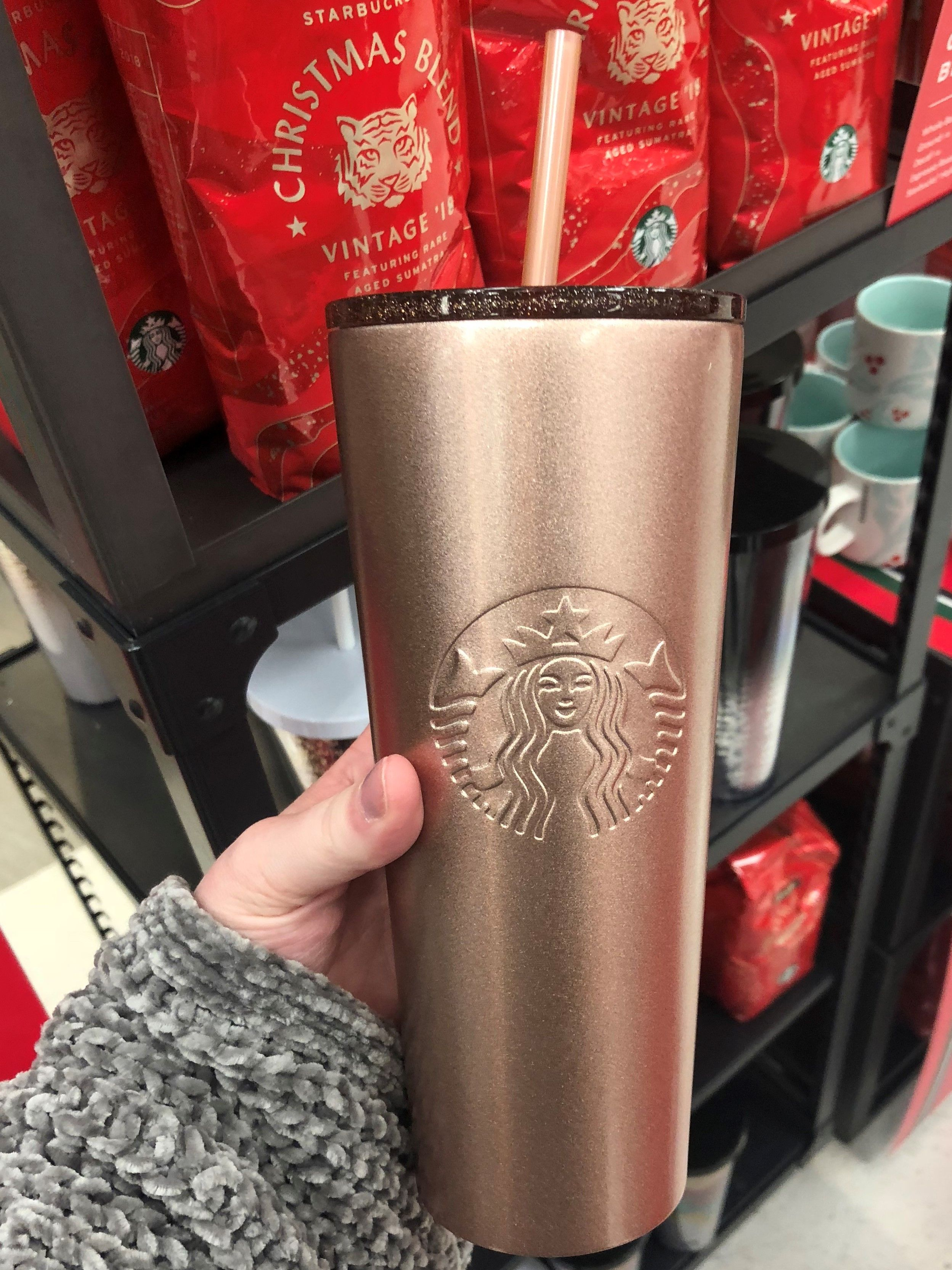 Christmas Starbucks Drinks 2019.Holiday 2018 Rose Gold Starbucks Travel Cup Christmas In