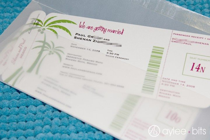 Boarding pass save-the-date template by AyleeBits Mariage - boarding pass template