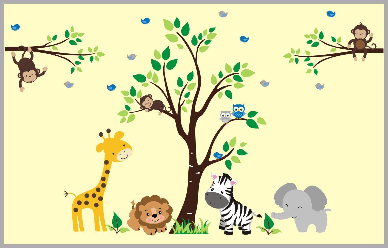 Elephant Lion Tree Wall Decals, Safari Wall Decals, Jungle Wall Art ...