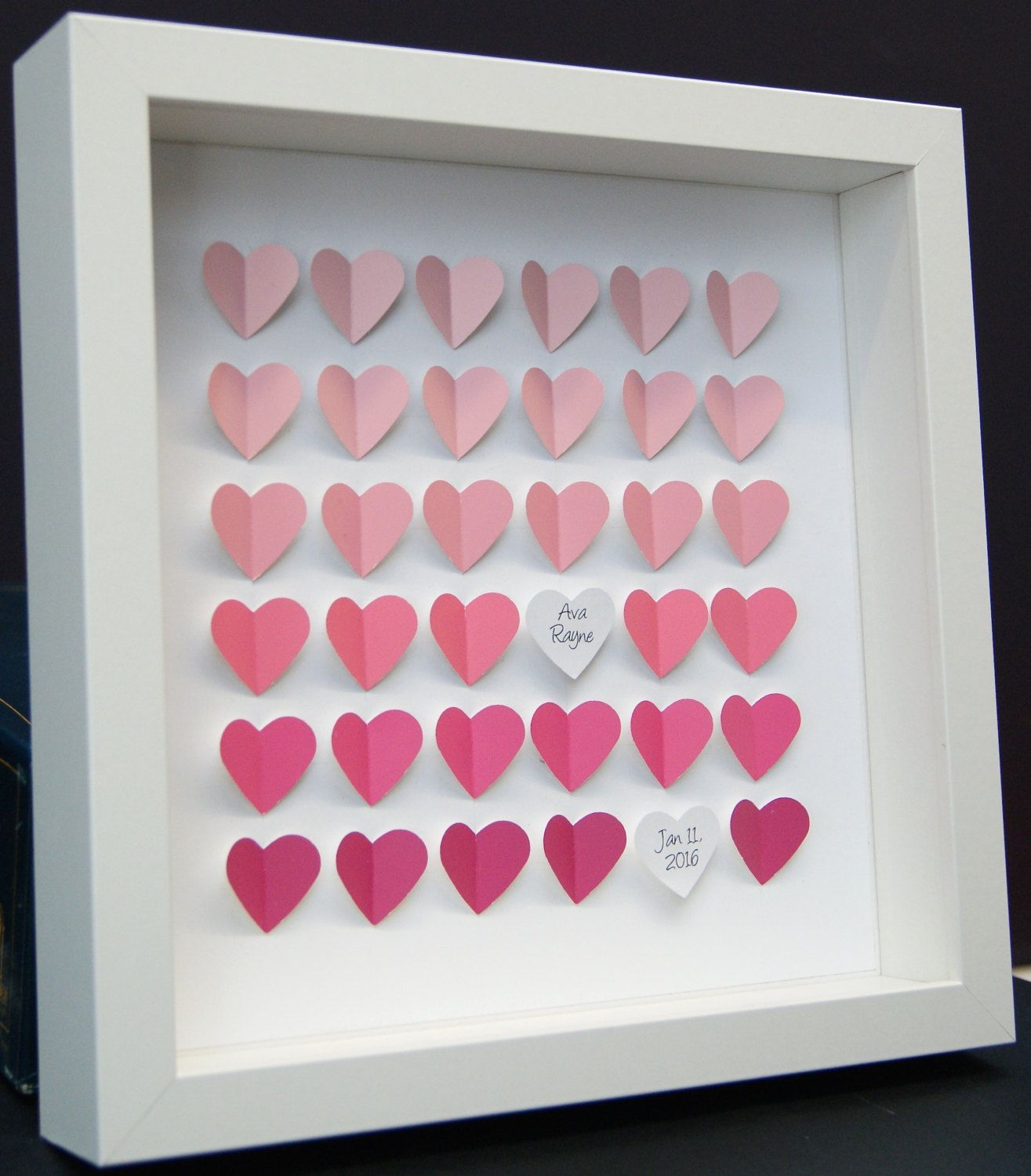 Personalized Name Frame of Ombre Pink Hearts, Baby Girl Gift, Nursery Decor Wall Art, Paper Art#art #baby #decor #frame #gift #girl #hearts #nursery #ombre #paper #personalized #pink #wall