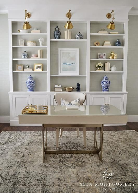 sophisticated home office features a bernhardt anjali writing desk