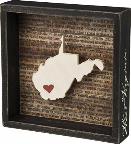 Primitives By Kathy 28247 883504282475 B014GA16U2 West Virginia State Shape Box Sign Primitives by Kathy