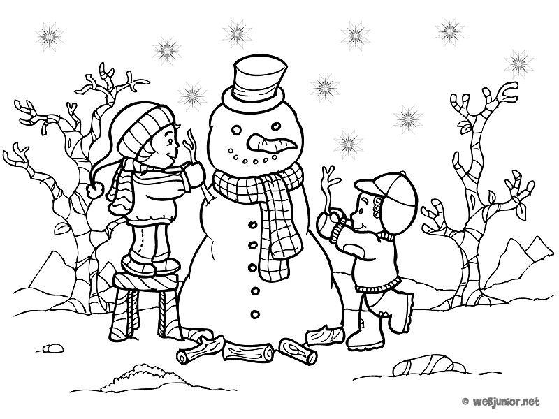 Un bonhomme de neige coloriage vacances gratuit sur webjunior inverno pinterest vacances - Bonhomme de neige a imprimer gratuit ...