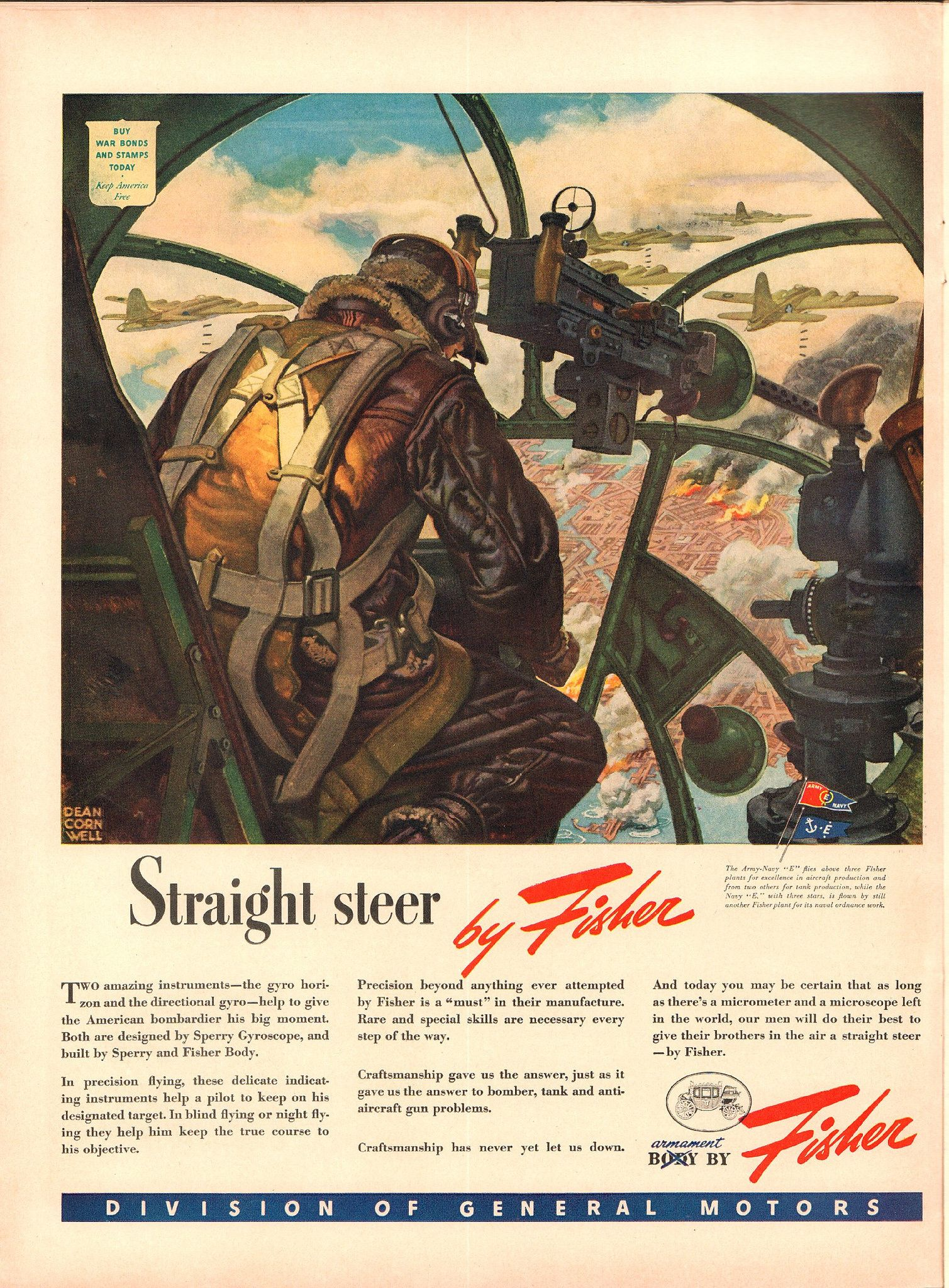 1943 General Motors / Fisher WWII Advertisement   published in Life Magazine September 13 1943