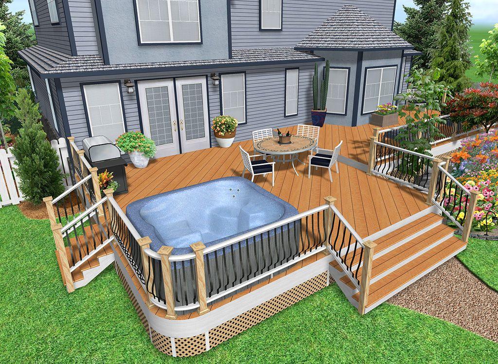Above Ground hottub Decks Idea   Landscape Design Software