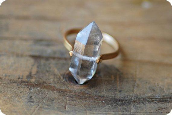 Herkimer Diamond Quartz Gold Band Ring  Custom Stone by lumafina, $325.00