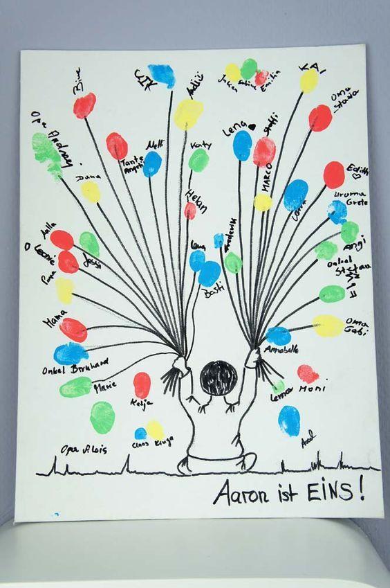 Zum 1 Geburtstag Ein Bild Von Allen Gasten Als Fingerabdruck Deko