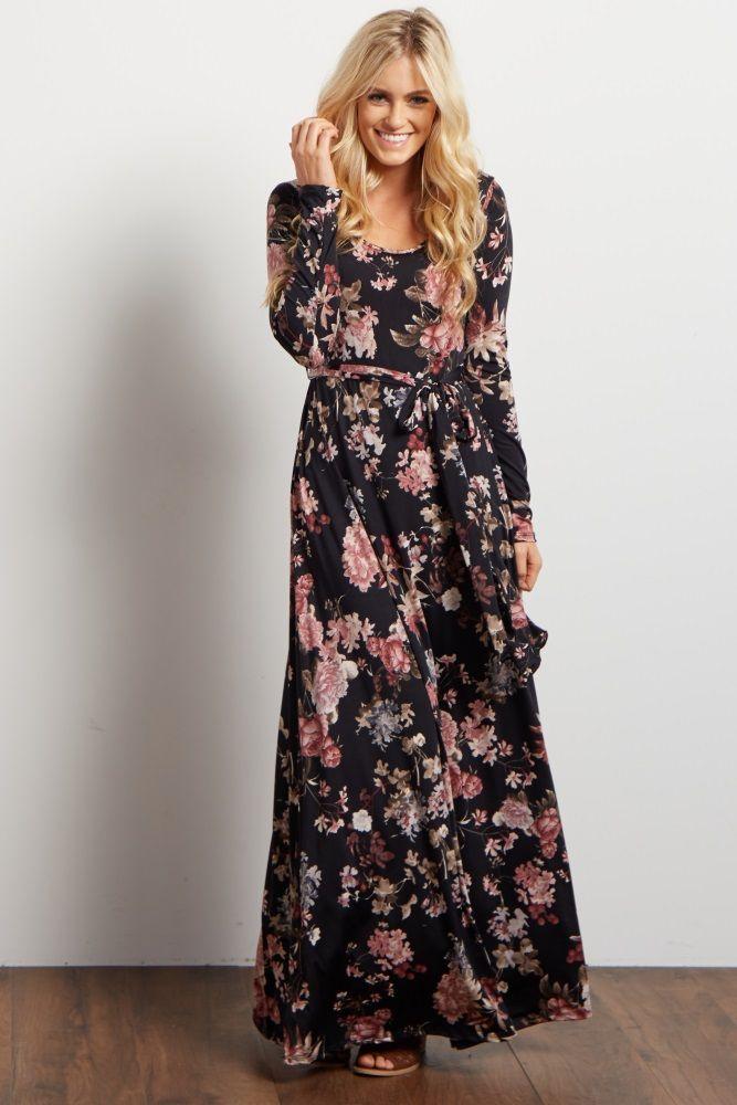 e3e4c8d623c Black Floral Print Sash Tie Maxi Dress in 2019