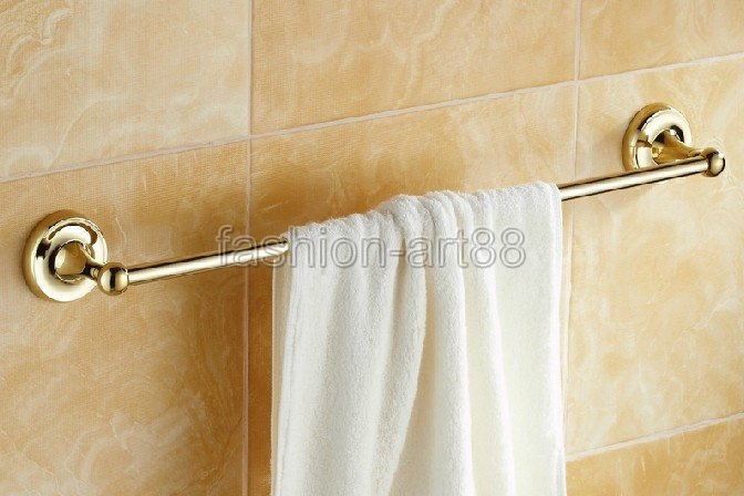 Polished Gold Color Brass Bathroom ⑧ Accessory Wall Mounted Bath Single  Brass Towel ᗑ Bar Or Towel Rail Rack Polished Gold Color Brass Bathroom  Accessory ...