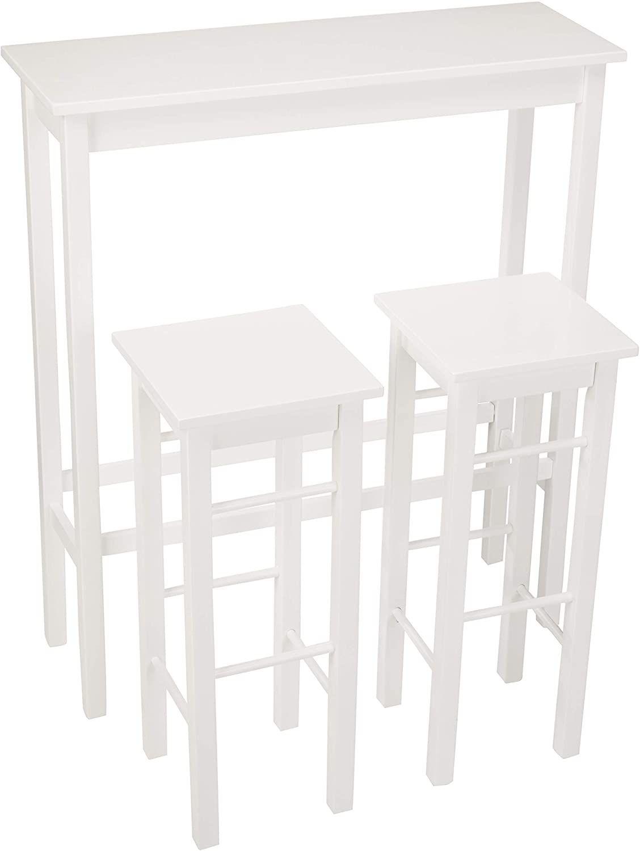 AmazonBasics Breakfast Bar Bistro Table   12 Piece Set, White ...