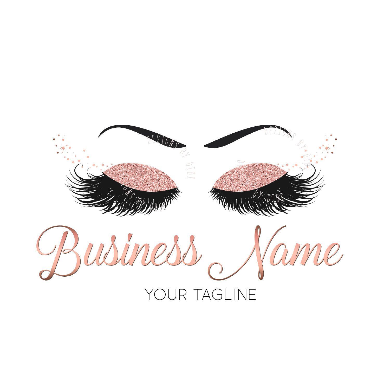 Custom Logo Rose Gold Lashes Logo Glitter Eyelash Logo