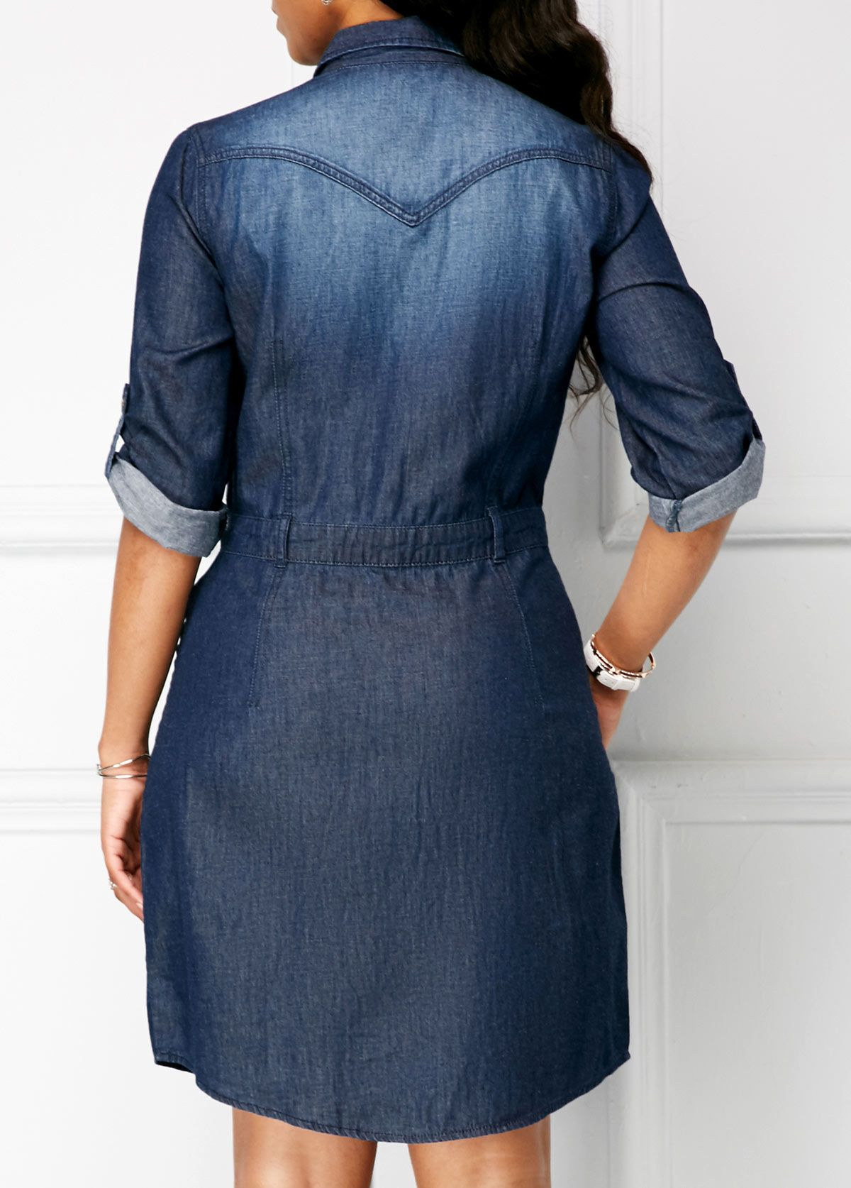 Turndown Collar Roll Tab Sleeve Denim Dress Rotita Com Usd 37 12 Denim Dress Womens Denim Dress Denim Dress Summer [ 1674 x 1200 Pixel ]