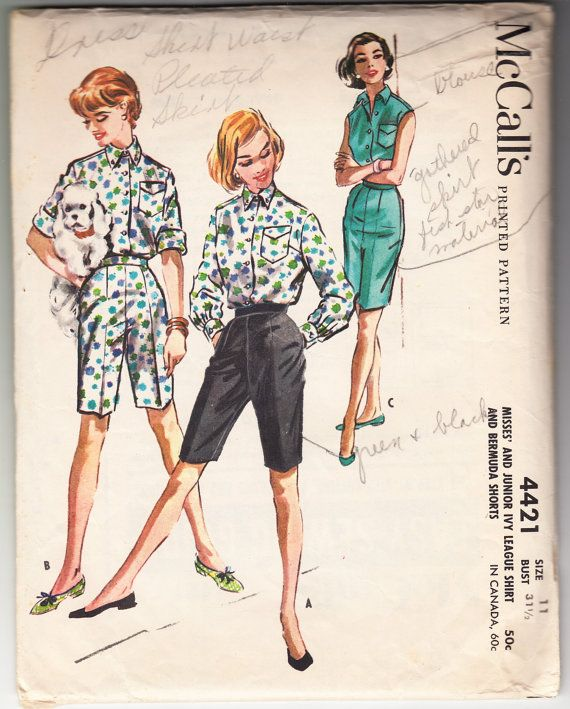 Vintage 1957 McCall's 4421 Sewing Pattern Misses' and
