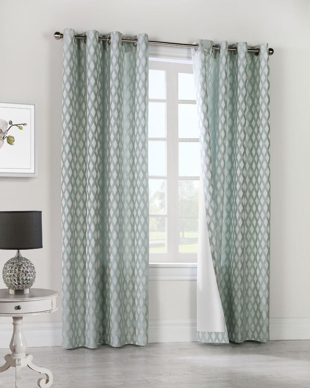 Criss Cross Woven Jacquard Curtain Panel In 2020 Panel Curtains