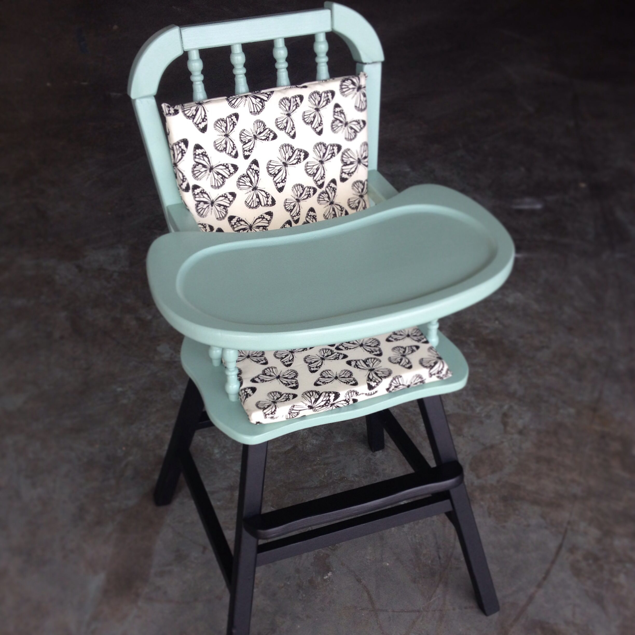 Painted wooden high chair - Vintage Painted High Chair