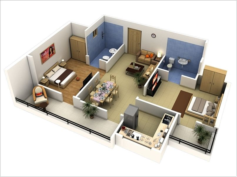 10 Awesome Two Bedroom Apartment 3D Floor Plans Bedroom apartment - plan de maison 3d gratuit