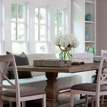Dining Table With Upholstered Bench And Chairs Transitional