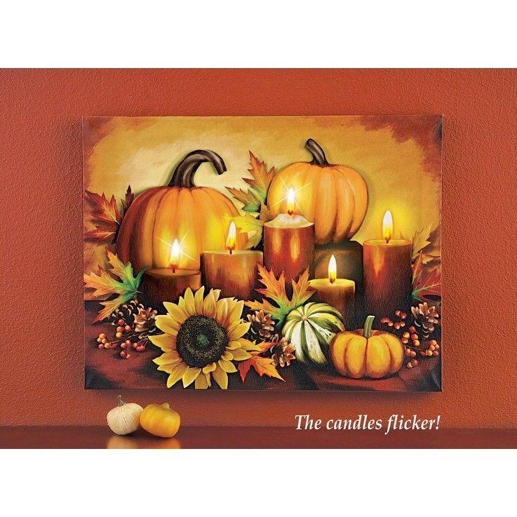 Fall Wall Decor Autumn Harvest Canvas LED Wall Art Harvest Hanging Decoration…