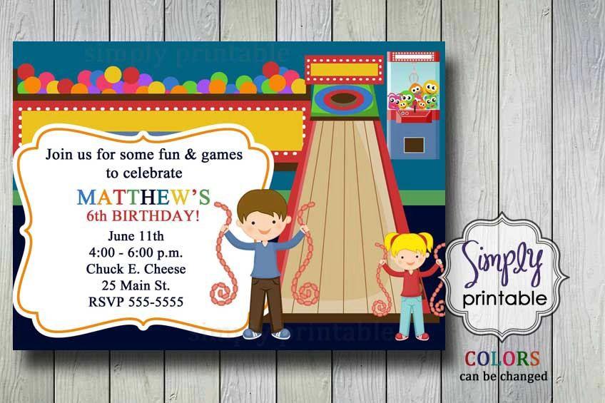 Arcade birthday party invitation printable file by