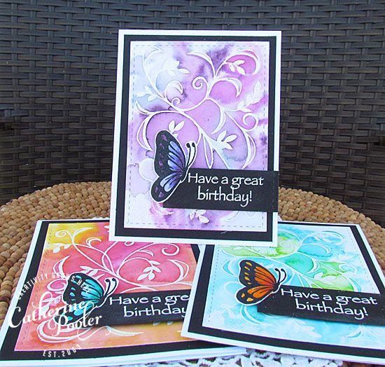 Watercolored Butterflies – Zig Markers, Distress Markers and Spectrum Noir Markers – Catherine Pooler
