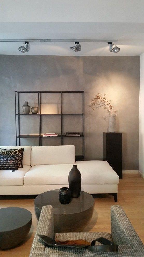 Betonoptik im Wohnzimmer   die moderne Beton Cire ...