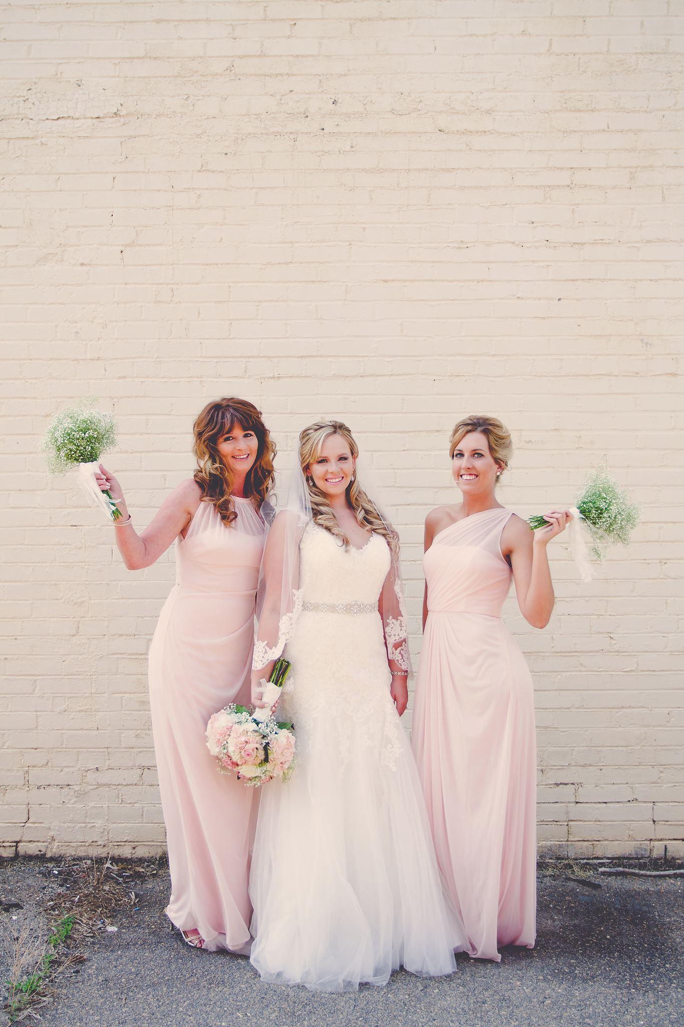 Pink bridesmaid dresses Summer wedding  Babies breath  Amanda Morgan photography